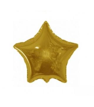 Шарик фольгированный Звезда золотая мини 23см