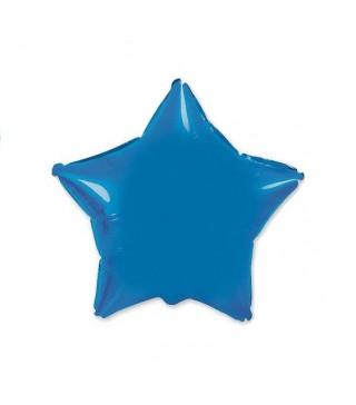 Шарик фольгированный Звезда синяя мини 23 см