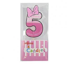 Свічки цифри Бант рожевий